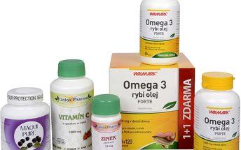 Sada Na Cévy - Natural Medicaments Maqui Pure 90 kapslí + Med Pharma Rybí olej Forte 67 tob. + Unios Pharma Vitamín C 1000 mg se šípkem + Unios Pharma Zinek 15 mg
