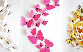 Dekorační 3D motýlci - originální samolepící dekorace na zeď -bytový doplněk, který ozvláštní váš pokoj.
