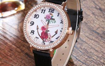 Dámské hodinky s kotvou a květinami