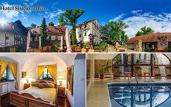 Hotel Šiškův mlýn**** s výbornou polopenzí, neomezeným bazénem, saunou a bowlingem