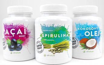 Spirulina, acai berry či kokosový olej ve formě kapslí Allnature