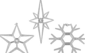 Vánoční dekorace na okno - sada 3 hvězda a vločka LED