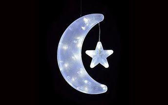 Vánoční dekorace - měsíc s hvězdou - studeně bílé
