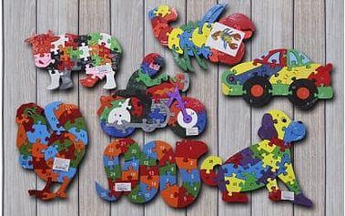 Dřevěné vzdělávací puzzle s číslicemi a písmenky pro děti. Puzzle ve tvaru zvířátek, motorky, auta nebo lokomotivy je zabaví a zároveň se díky němu něco nového naučí.