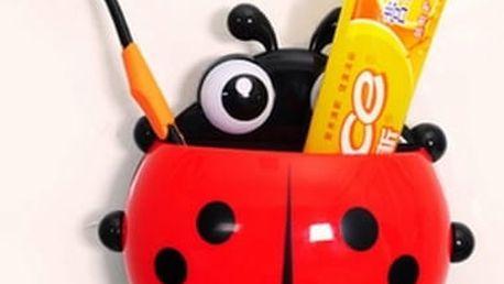 Veselý originální držáček na pastu na zuby a kartáček ve tvaru berušky.