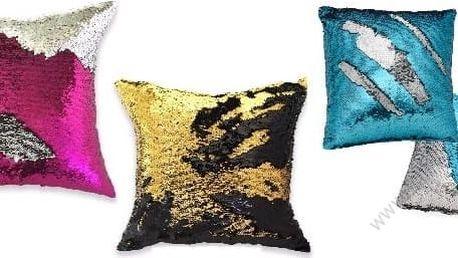 Barevný flitrovaný polštář 1-4 ks v barvách: stříbrno-fialová, černo-zlatá, modro-růžová