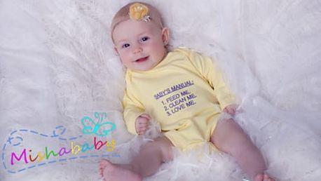 Novorozenecké a dětské body s vlastní výšivkou, několik variant, vel. 50-92 vč. poštovného