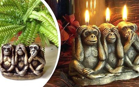Nápaditá svíčka ve tvaru tří opic. Netradičníinteriérová dekorace.