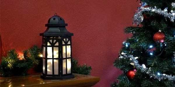 Vánoční dekorace - holografická 3D lucerna - 30 cm, 8 LED diod3