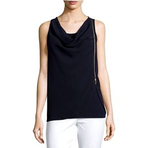 Michael Kors Dámský top Cowl-Neck Asymmetric-Zip Tank, Real Navy LCS15-TA2NN M