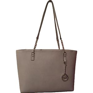 Michael Kors Elegantní kožená business kabelka Jet Set Chain Leather Tote Pearl Grey