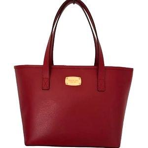 Michael Kors Elegantní kožená business kabelka Jet Set Saffiano Leather Tote Red