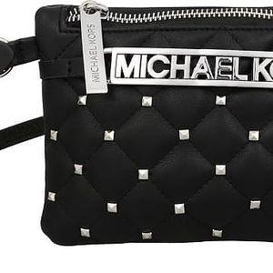 Michael Kors Elegantní dámská kabelka s opaskem Studded Logo Belt Bag - černá/stříbrná 553365c-2 S