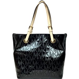 Michael Kors Elegantní kožená business kabelka Grab Bag Leather Tote Black Shine