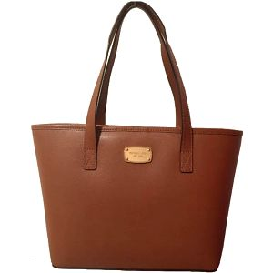 Michael Kors Elegantní kožená business kabelka Jet Set Saffiano Leather Tote Brown