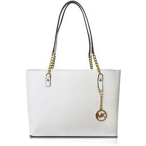 Michael Kors Elegantní kožená business kabelka Jet Set Chain Leather Tote White