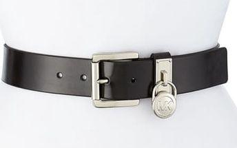 Michael Kors Dámský kožený opasek Logo Lock Charm Leather Belt Black S