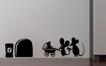 Vtipná samolepka na zeď Myšky