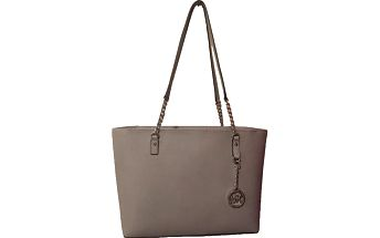Michael Kors Elegantní kožená business kabelka Jet Set Chain Leather Tote Pearl Grey