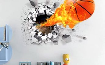 3D samolepka na zeď Basketball