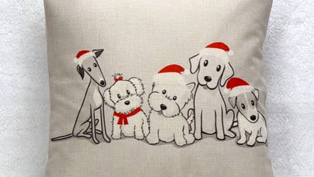 Vánoční povlak na polštář s pejsky