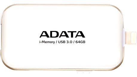 USB flash disk ADATA UE710 s konektorem Lightning pro Apple, 64GB - bílý
