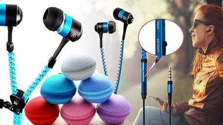 Stylová sluchátka na zip v mnoha barvách