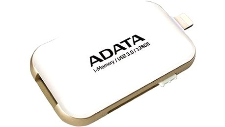 USB flash disk ADATA UE710 s konektorem Lightning pro Apple, 128GB - bílý