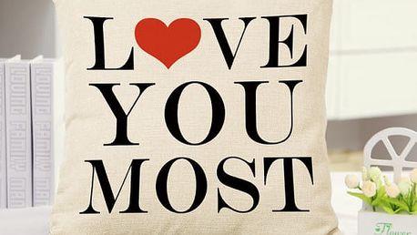 Povlak na polštář se zamilovanými nápisy - bílá - dodání do 2 dnů