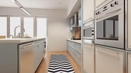 Vysoce odolný kuchyňský koberec Optical Black White, 60x220 cm