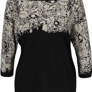 Černé oversize tričko s květinovým potiskem Skunkfunk Lanivet