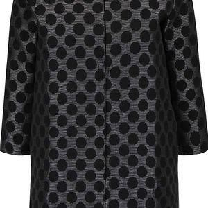 Černý puntikatý lehký kabát s 3/4 rukávy Alchymi Tarumi