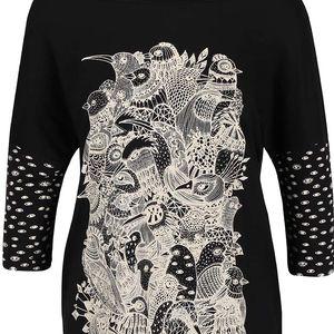 Černé oversize tričko s potiskem Skunkfunk Kemnay