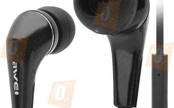 Stereo sluchátka 3,5mm s mikrofonem - špunty, černé - dodání do 2 dnů