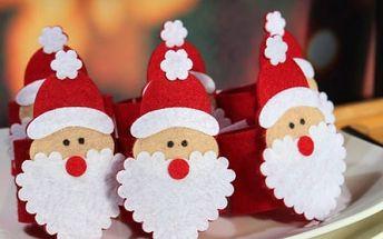 Spony na ubrousky Santa sada 6 ks