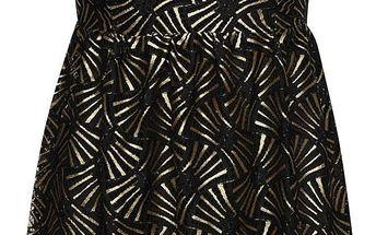 Černé šaty s límečkem a vzory ve zlaté barvě Mela London