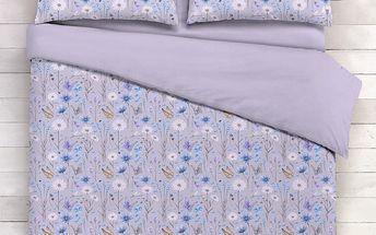 Italské povlečení bavlna LUX Flora šedá