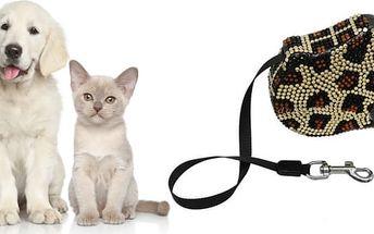 Vodítko vykládané kamínky se vzorem.Luxusní vodítko pro Vašeho mazlíčka.Vhodné pro malá a střední plemena pejsků i koček.