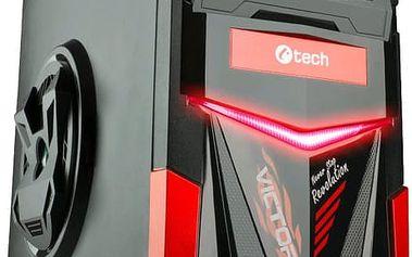Crono PC herní skříň C-TECH ARES (GC-02), černo-červená