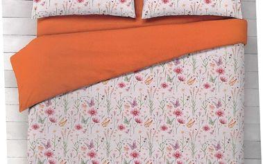 Italské povlečení 100% bavlna Flora oranžová