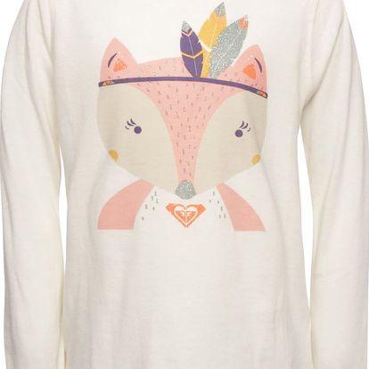Krémové holčičí tričko s motivem lišky a dlouhým rukávem Roxy