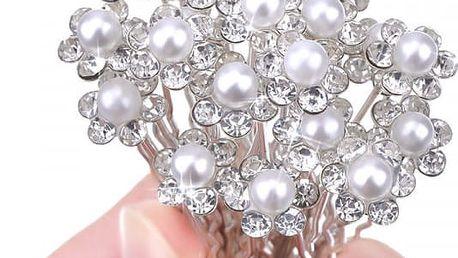 Sada kolíčků do vlasů s umělými perlami - 20 kusů