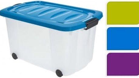 Úložný box pojízdný 45 l plastový s klip víkem 59,5x39,5x33 cm modrá ProGarden KO-928198modr