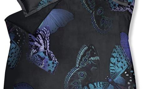 Luxusní saténové povlečení VANDYCK Mythical butterflies tmavě modrá