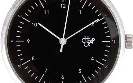 Černo-hnědé unisex hodinky s koženým páskem Cheapo Harold