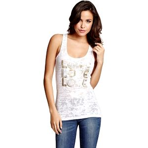 Guess Top Dollie Burnout Love Tank bílý L