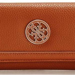 Guess Elegantní peněženka Enamel Quattro G Slim Clutch hnědá