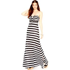 Guess Dámské šaty Strapless Applique Maxi Dress Stripes S