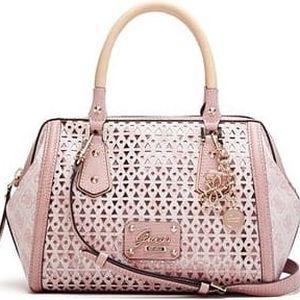 Guess Elegantní kabelka Park Lane Shine Frame Satchel růžová