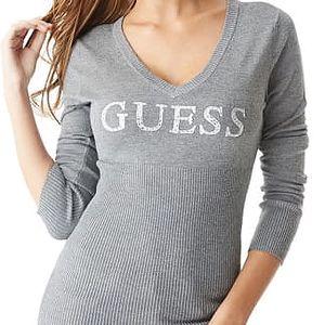 Guess Dámský šedý svetr Danae Beaded Logo Sweater XL